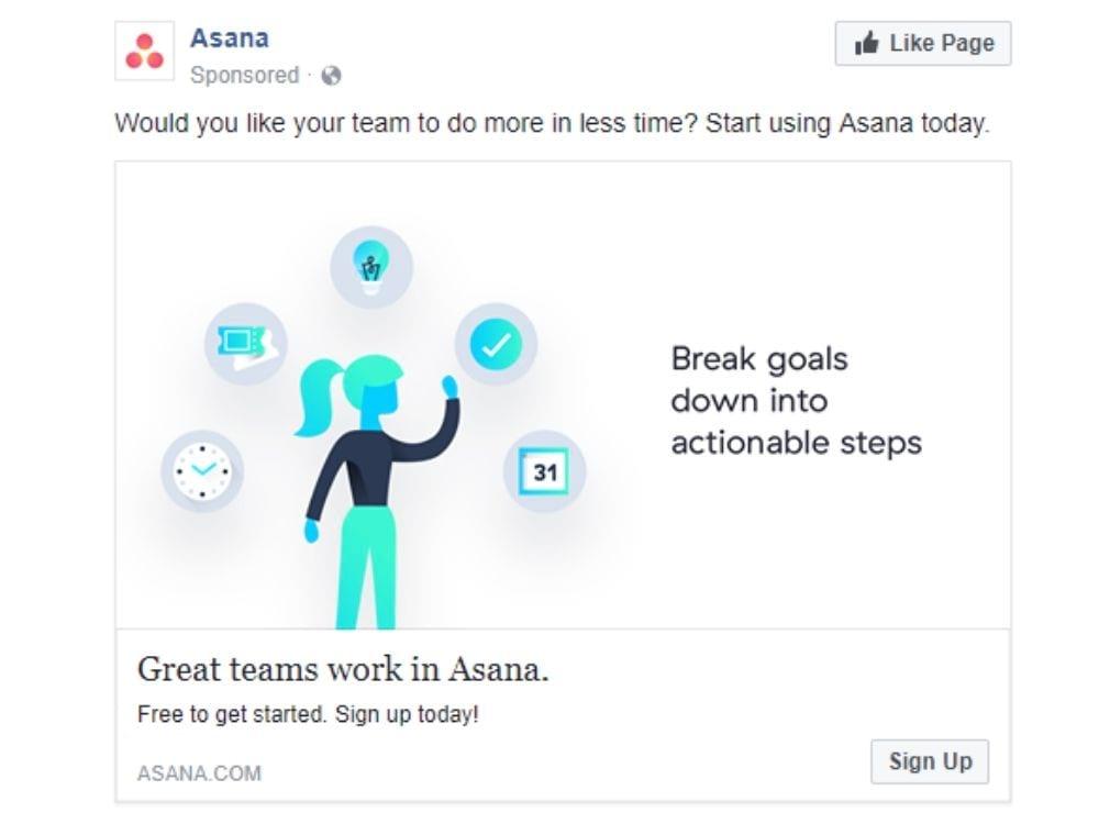 Best Facebook ads: Asana