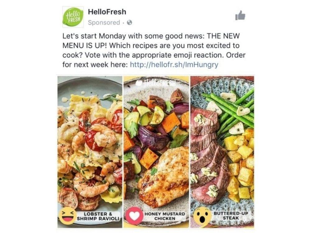 Best Facebook ads: HelloFresh