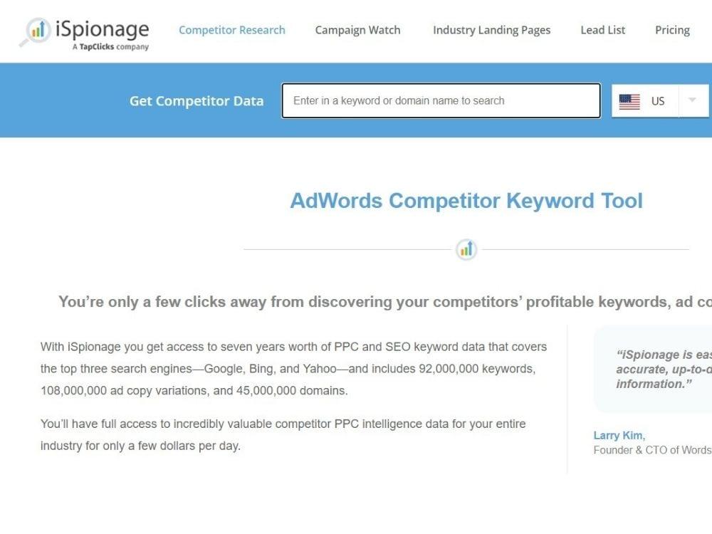 Ispionage Competitor Keyword Tool
