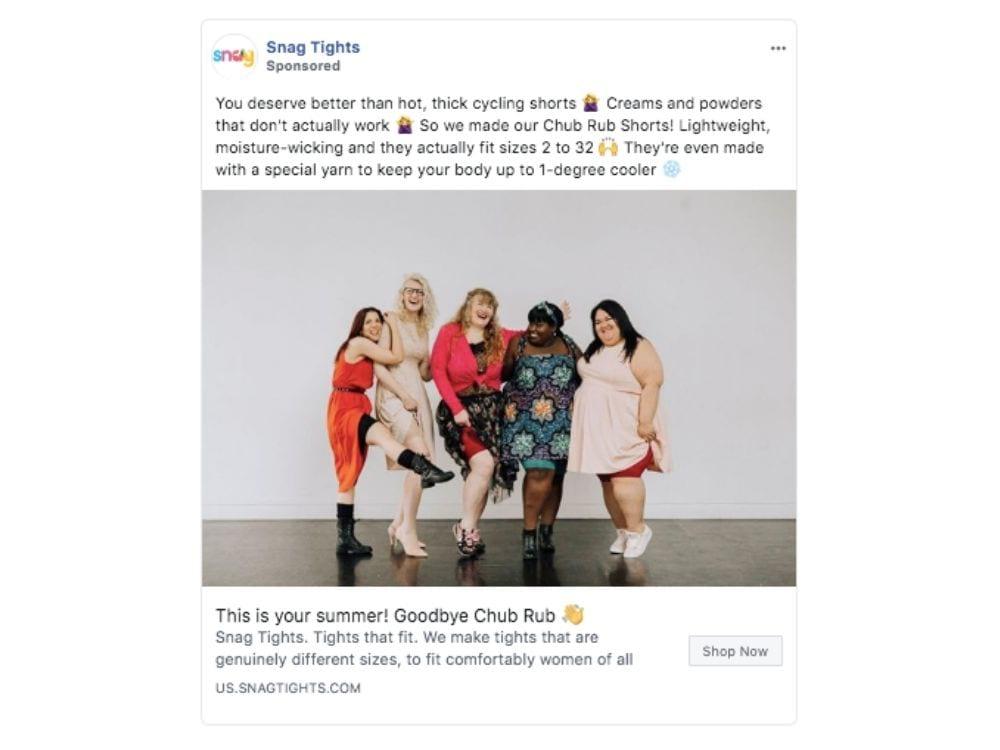 Snag Tights ad copy example