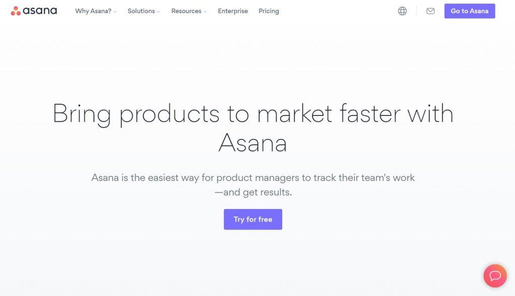 Asana landing page example