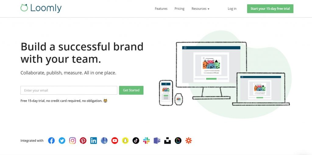 Loomly landing page example