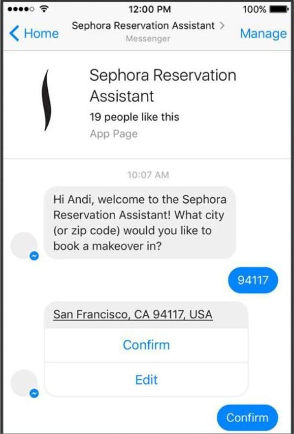 Sephora messenger chatbot assistant